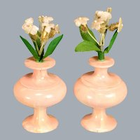 "Pair of Spielwaren Peach Marbleized Vases by Szalasi 1950s – 1980s Large 1"" Scale"
