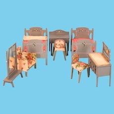 """Vintage Dollhouse Wood Bedroom Suite – 8 Pieces Large 1"""" Scale"""