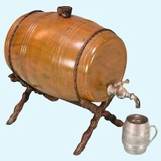 """Antique Miniature Cast Metal Keg on Stand Early 1900s Large 1"""" Scale"""