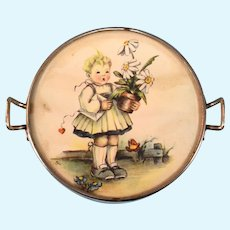 Vintage German Miniature Round Serving Tray Small Doll Size