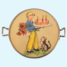 Vintage German Miniature Birthday Cake Tray Small Doll Size