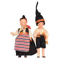 Pair of German Painted Bisque National Dolls / Costume Dolls 1930s