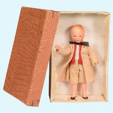 German Painted Bisque Boy Dollhouse Doll in Original Box 1930s