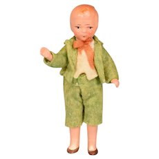 """German Painted Bisque Boy Dollhouse Doll 3-7/8"""" 1930s"""