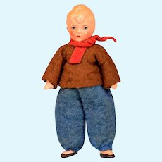 """German Painted Bisque Boy Dollhouse Doll Original Clothing 4"""" 1930s"""