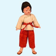 """German Painted Bisque Boy Dollhouse Doll Original Clothing 3-1/2"""" 1930s"""
