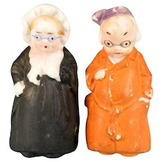 """Painted Bisque Grandmother and Grandfather Dolls 2-1/4"""""""