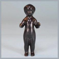 """Antique 4"""" Frozen Charlotte Black Porcelain Doll Late 1800s"""