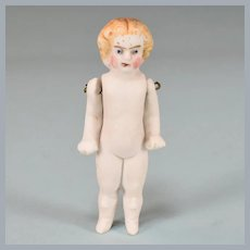 """Antique 2-3/8"""" German All Bisque Child Doll One Piece Head Wire Jointed Arms Late 1800s"""
