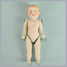 """Antique 2-3/8"""" German All Bisque Child Doll One Piece Head Wire Jointed Limbs Late 1800s"""