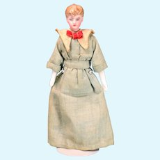 """6"""" Antique Bisque Kestner Dollhouse Lady Doll with Original Costume Early 1900s"""