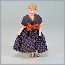 """4-3/4"""" Antique Kestner Bisque Dollhouse Young Lady Doll 1850s Small 1"""" Scale"""