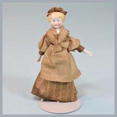 "3-3/4"" Antique Parian Bisque Lady Dollhouse Doll 3/4"" Scale"
