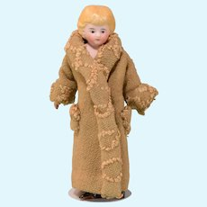 """5-1/2"""" Antique Bisque Lady Dollhouse Doll Early 1900s 1"""" Scale"""