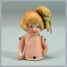Antique Hertwig All Bisque Pin Cushion Half Doll 1920s