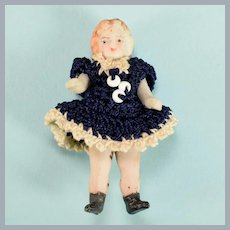 """1-3/4"""" Antique German All Bisque Carl Horn Doll Wire Jointed"""