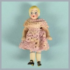 """1-3/4"""" Antique Hertwig All Bisque Doll Wire Jointed"""