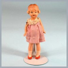 """4"""" Painted Bisque Dollhouse Girl Doll 1920s 1"""" Scale"""