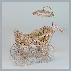 """Antique German Soft Metal Baby Carriage / Baby Buggy Late 1800s Large 1"""" Scale"""