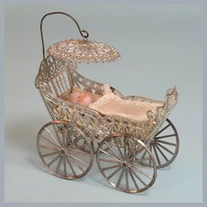 """Antique German Baby Carriage / Pram Late 1800s Large 1"""" Scale"""