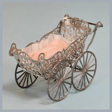 """Antique Dollhouse Soft Metal Baby Carriage 1"""" Scale"""
