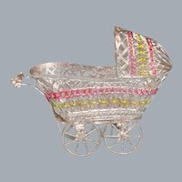 """Schweizer Soft Metal Baby Carriage Late 1940s – 1980s Small 1"""" Scale"""
