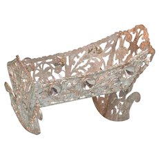 """Schweizer Soft Metal Dollhouse Cradle 1940s – 1980s Small 1"""" Scale"""