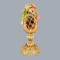 "Artisan Dollhouse Miniature Faberge Style Egg on Stand 1"" Scale"