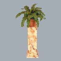 "Dollhouse Miniature Artisan Plantstand with Boston Fern 1990s 1"" Scale"