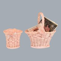 "Dollhouse Miniature Artisan Wicker Magazine Holder and Wastebasket 1990s 1"" Scale"