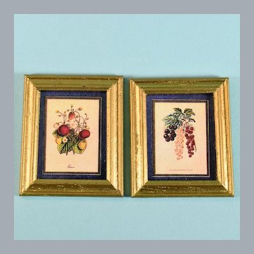 """Pair of Dollhouse Miniature Framed Fruit Prints 1990s Small 1"""" Scale"""