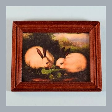 """Dollhouse Miniature Framed Bunny Picture 1990s 1"""" Scale"""