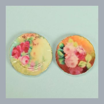"""Pair of Dollhouse Miniature Cabbage Rose China Plates 1990s 1"""" Scale"""