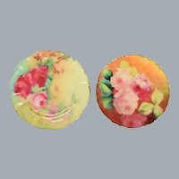 "Pair of Dollhouse Miniature Cabbage Rose China Plates 1990s 1"" Scale"