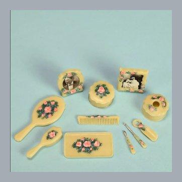 "Miniature Artisan Hand-Painted Chrysnbon 13 Pc. Dresser Set 1990s 1"" Scale"