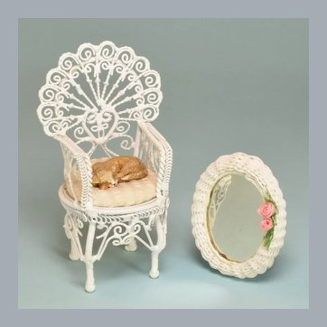 """Miniature White Wire Arm Chair with Cat and Artisan Wicker Mirror 1990s 1"""" Scale"""