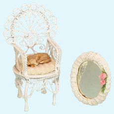 "Miniature White Wire Arm Chair with Cat and Artisan Wicker Mirror 1990s 1"" Scale"