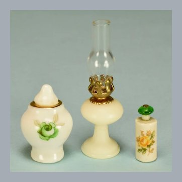 """Group of 3 Vintage Dollhouse Miniatures for Nightstand or Vanity 1"""" Scale"""