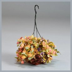 "Artisan Dollhouse Hanging Flower Basket by Janet Andrews 1984 1"" Scale"