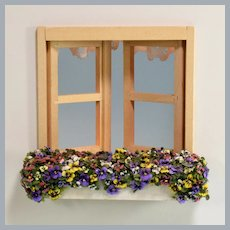 "Artisan Dollhouse Miniature Window Box Planter with Hand-Painted Pansies 1990s 1"" Scale"
