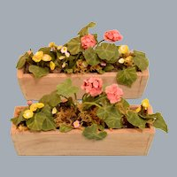 "Artisan Dollhouse Miniature Window Box Planters 1990s 1"" Scale"