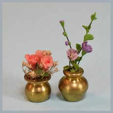 "Two Dollhouse Miniature Flower Arrangements in Brass Vases 1990s Small 1"" Scale"