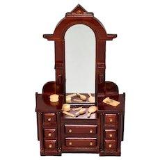 "Dollhouse Miniature Eastlake Style Mirrored Dresser 1980s 1"" Scale"