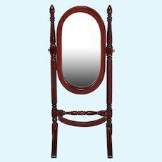 "Miniature Dollhouse Psyche Mirror / Standing Mirror 1980s 1"" Scale"