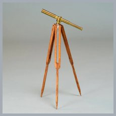 "Miniature Dollhouse Telescope on Stand by Ray Fisk 1980s 1"" Scale"