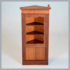 "Lynnfield Dollhouse Miniature Duncan Phyfe Corner Cupboard 1950 1"" Scale"