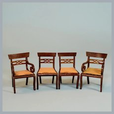 """Lynnfield Dollhouse Miniature Duncan Phyfe Set of 4 Dining Room Chairs 1950 1"""" Scale"""