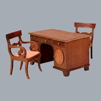 "Lynnfield Type Dollhouse Miniature Duncan Phyfe Partner's Desk 1950s 1"" Scale"