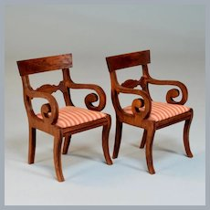 "Lynnfield Dollhouse Miniature Duncan Phyfe Set of 2 Armchairs 1950 1"" Scale"