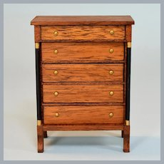 """Lynnfield Dollhouse Miniature Empire Chest of Drawers Early 1960s 1"""" Scale"""